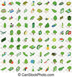 100 green icons set, isometric 3d style
