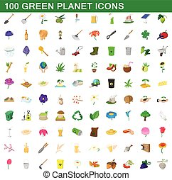 100 green planet icons set, cartoon style