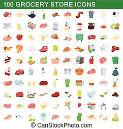 100 grocery store icons set, cartoon style - 100 grocery...