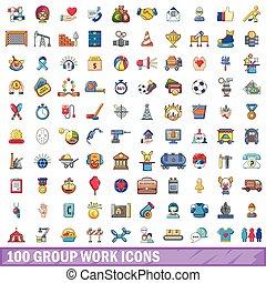 100 group work icons set, cartoon style