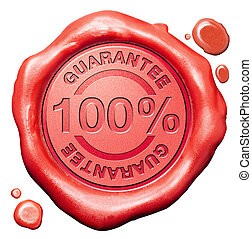 100% guarantee icon in red wax seal. Quality control guaranteed stamp or button.