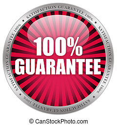 100 guarantee label isolated on white