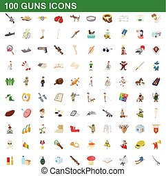 100 guns icons set, cartoon style