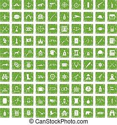 100 guns icons set grunge green