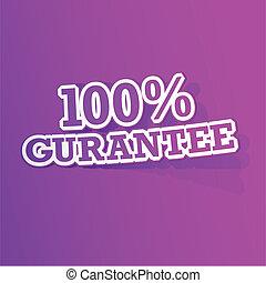 100, gurantee, percento, adesivo