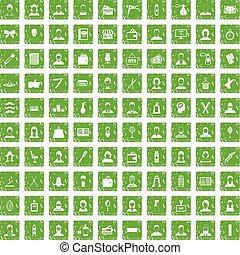 100 hairdresser icons set grunge green