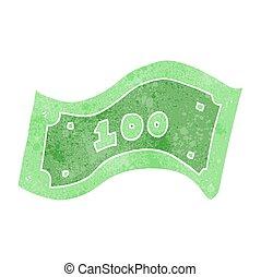 100, halabarda, dolar, retro, rysunek