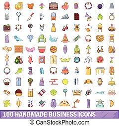 100 handmade business icons set, cartoon style