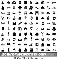 100 handmade business icons set, simple style