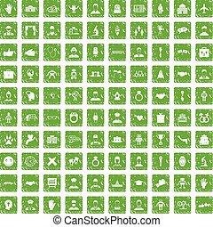100 handshake icons set grunge green