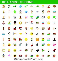 100 hangout icons set, cartoon style