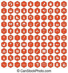 100 happy childhood icons hexagon orange