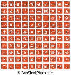 100 happy childhood icons set grunge orange