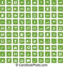 100 hardware icons set grunge green
