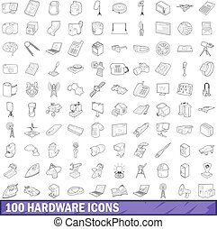 100 hardware icons set, outline style