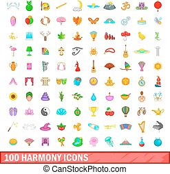 100 harmony icons set, cartoon style
