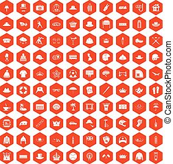 100 hat icons hexagon orange