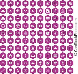 100 hat icons hexagon violet