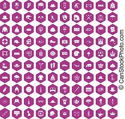 100 hat icons hexagon violet