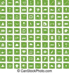 100 hat icons set grunge green