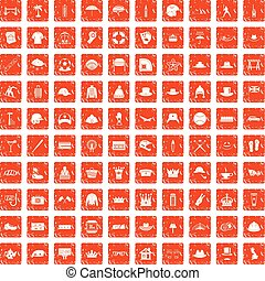 100 hat icons set grunge orange