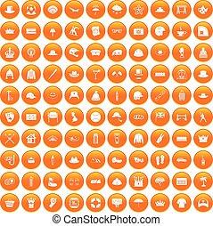 100 hat icons set orange