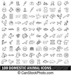 100, haustier, heiligenbilder, satz, grobdarstellung, stil