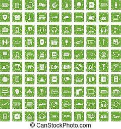 100 headphones icons set grunge green