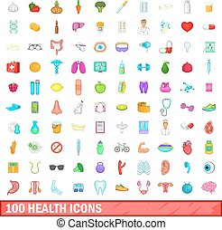 100 health icons set, cartoon style