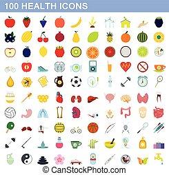 100 health icons set, flat style
