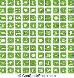 100 health icons set grunge green
