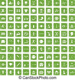 100 health icons set grunge green