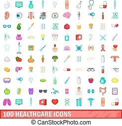 100 healthcare icons set, cartoon style