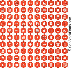 100 healthy lifestyle icons hexagon orange
