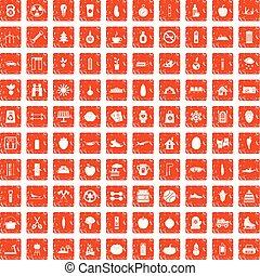 100 healthy lifestyle icons set grunge orange