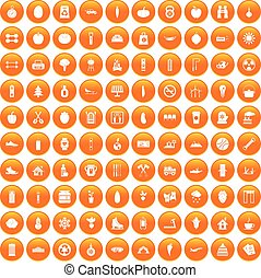 100 healthy lifestyle icons set orange