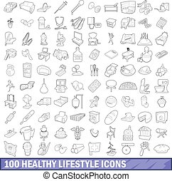 100 healthy lifestyle icons set, outline style