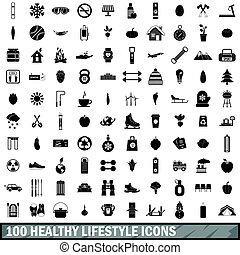 100 healthy lifestyle icons set, simple style