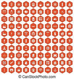 100, heizung, heiligenbilder, sechseck, orange
