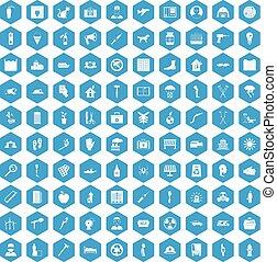 100 help icons set blue