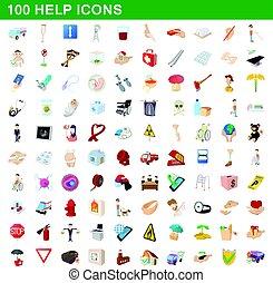 100 help icons set, cartoon style