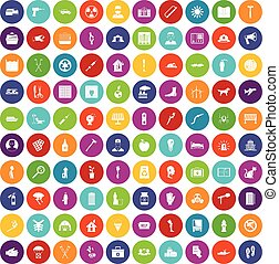 100 help icons set color