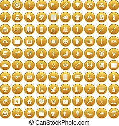 100 help icons set gold