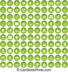 100 help icons set green
