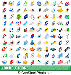 100 help icons set, isometric 3d style