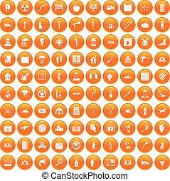 100 help icons set orange