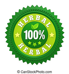 100% Herbal Badge Label isolated on white background. 3D render