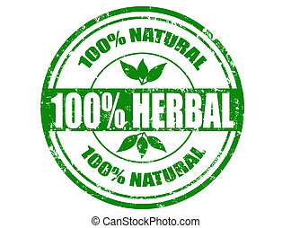 100% herbal stamp - Grunge rubber stamp with word herbal...