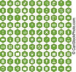 100, hexágono, verde, compañía, iconos