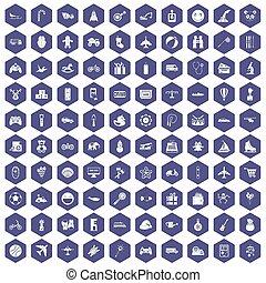 100, hexagone, jouets, pourpre, icônes, gosses